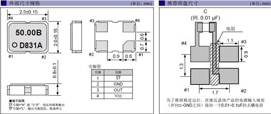 石英晶振,2520四脚有源晶振,sg-210sed晶振